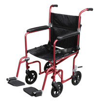 Flyweight Lightweight Transport Wheelchair with Removable Wheels, Red (RTLFW19RW-RD)