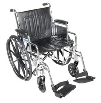 "Chrome Sport Wheelchair, Detachable Full Arms, Elevating Leg Rests, 18"" Seat (CS18DFA-ELR)"