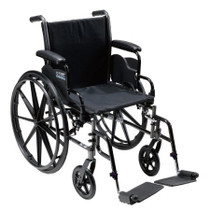 "Chrome Sport Wheelchair, Fixed Full Arms, Elevating Leg Rests, 18"" Seat (CS18FA-ELR)"