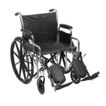 "Drive CS20DDA-ELR Chrome Sport Wheelchair, Detachable Desk Arms, Elevating Leg Rests, 20"" Seat (CS20DDA-ELR)"