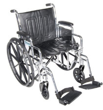 "Drive CS20DDA-SF Chrome Sport Wheelchair, Detachable Desk Arms, Swing away Footrests, 20"" Seat"