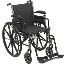 "Drive Devilbiss K320DDA-ELR Cruiser III Light Weight Wheelchair with Flip Back Removable Arms, Desk Arms, Elevating Leg Rests, 20"" Seat"