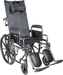"Drive SSP20RBDDA Silver Sport Reclining Wheelchair with Elevating Leg Rests, Detachable Desk Arms, 20"" Seat (SSP20RBDDA)"