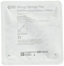 "BD 305540 1mL Allergist tray with 27 G x 0.5"" BD PrecisionGlide permanently attached needle, regular bevel and regular wall 25/sp"