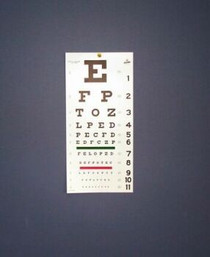 "Snellen Type EYE CHART 20ft PLASTIC 22"" x 11"" (139-1240)"