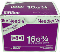 "BD 301692 PrecisionGlide Blunt NEEDLE 16G x 3/4"" BULK STERILE Square Grind CA/100"