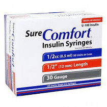 "SURE COMFORT 22-6205 INSULIN SYRINGE, 30G, 1/2"" (12mm), 1/2cc"