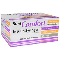 "Allison Medical 22-6503 SURE COMFORT 3/10cc INSULIN SYRINGE, 31G, 5/16"" (8mm) 100/BX"