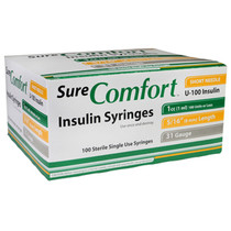 "Allison Medical 22-6510 SURE COMFORT INSULIN SYRINGE, 31 G, 5/16"" (8mm), 1cc"
