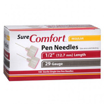 "Allison Medical 24-1010 SURE COMFORT PEN NEEDLES, 29 G, 1/2"" (12mm) Regular BX/100"