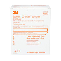 3M-10202 SOLUPREP 0.5% CHG, 70% ISO ALCOHOL CLEAR SOLUTION SWABSTICKS BX/50 (3M-10202)