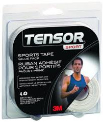3M-201967 Tensor Sport Tape, 38.1mm x 9.14m, 4 Roll Value Pack, White 4/PK ()