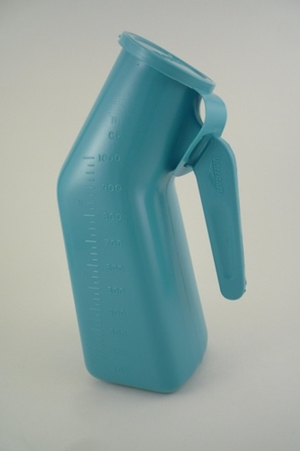 00095 Urinal Male Blue w/handle & cover