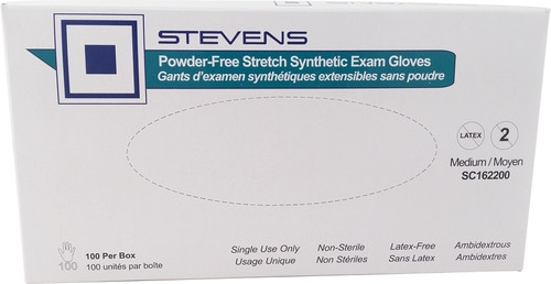 Stevens SC162100 GLOVE EXAM VINYL STRETCH P/F, N/S, SMALL, BX/100 P750