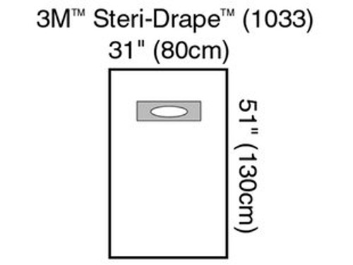 3M 1033 Steri-Drape™ Medium Drape with Wide Adhesive Aperture BX/10