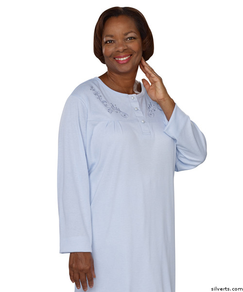 Silvert s 260300203 Womens Cotton Knit Pretty Adaptive Open Back Hospital  Nightgown  741fbf69c