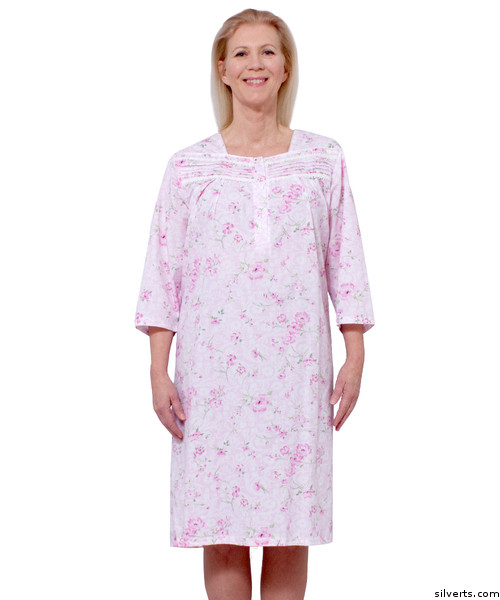 af27398608 Silvert s 263200203 Cotton Hospital Nightgown 3 4 Long Sleeve Hospital  Gowns For Women