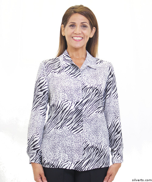 7f94ffbc18003 Silvert's 133001703 Mature Women's Long Sleeve Petite Blouses , Size 10P,  SMOKE GREY