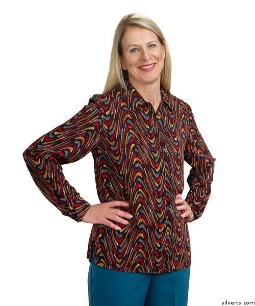 494c79ce4ec8a Silvert's 133001105 Mature Women's Long Sleeve Petite Blouses , Size 14P,  CINNAMON