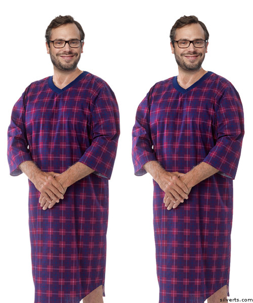 a2dc3629a7 Buy Online Silvert s 501400402 Men s Adaptive Flannel Hospital Gowns ...