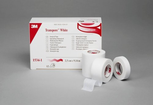 3M 1534-1-2 TRANSPORE TAPE, 0.5IN X 10YD, WHITE BX/24 (3M 1534-1-2)