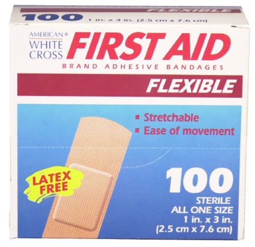 1595033 DRESSING ADHESIVE STRIP FABRIC 1 x 3in FLEXIBLE FIRST AID BX/100