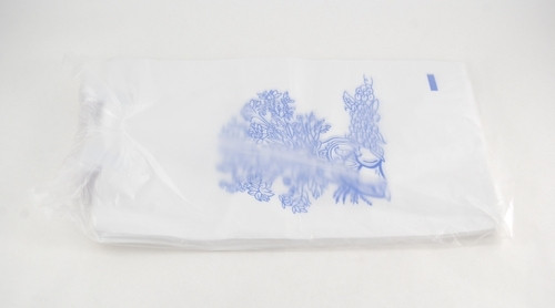BAG BEDSIDE LITTER PULL-TITE WHITE FLORAL 7x11in HDP w/ADH TAB CA/2000 193-50-45