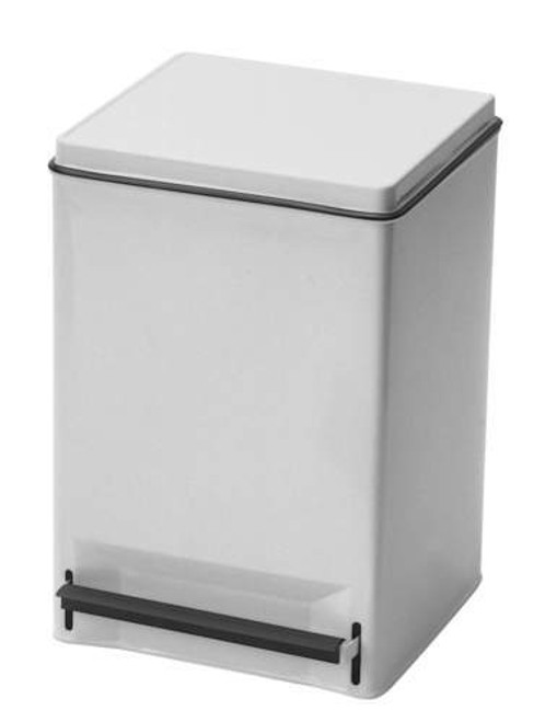 RECEPTACLE WASTE STEP ON 32qt WHITE ENAMEL SQUARE 120-35266