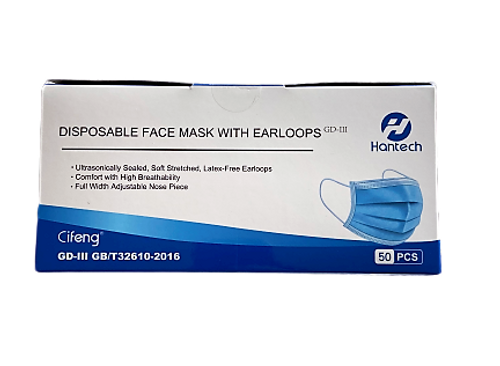 Hantech GB/T 32610-2016 Cifeng Disposable Face Mask with Latex-Free Earloops, 50 Masks/Box, Box