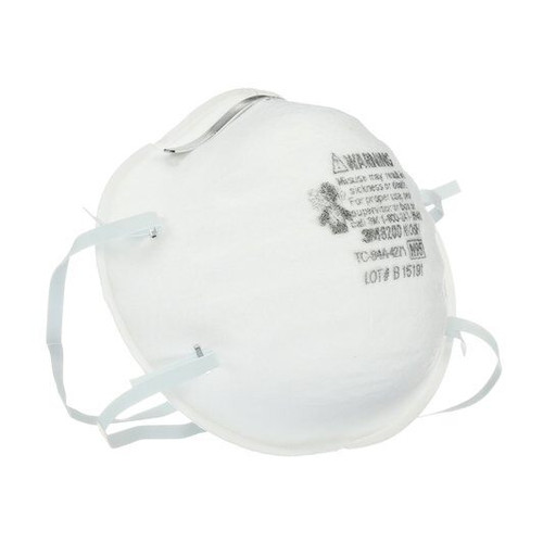 3M 8200 3M™ Particulate Respirator, 07023(AAD), Industrial N95 Cup Earloops One Size Fits Most, White, Non-Sterile, BX/20, Box