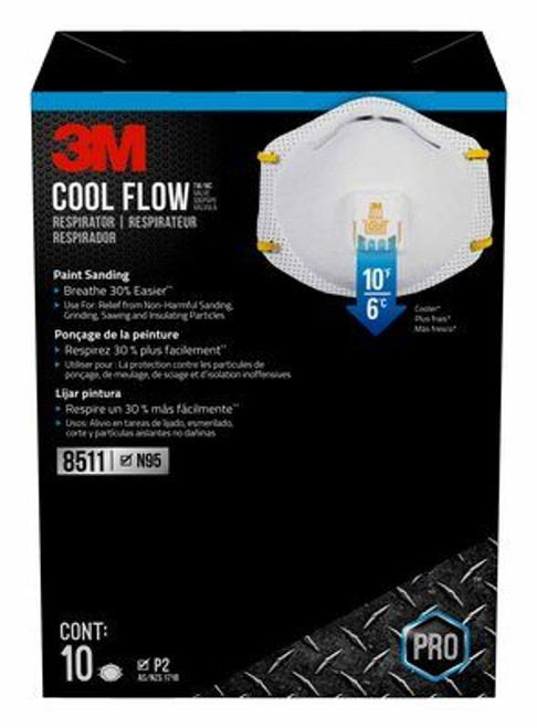 3M 8511 PRO Particulate Respirator N95 with Cool Flow Valve, 10/Box, Box