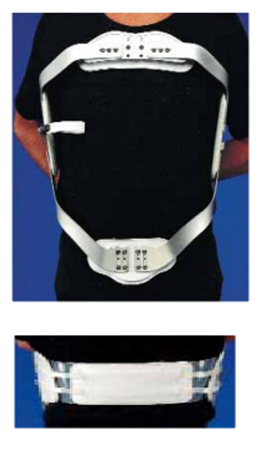 """Men's - Ladies' Chair back HARRIS Orthoses 9½"""" Depth Men's lt-wt pelvic and thoracic bands naugahyde covered S-M-L-XL (0950-P) (Harris Orthoses 0950-P)"""