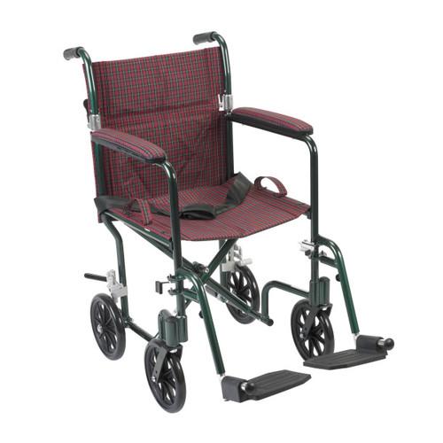 "Drive Medical FW19BG Fly-weight Lightweight Folding Transport Wheelchair, 19"", Green Frame, Burgundy Upholstery"