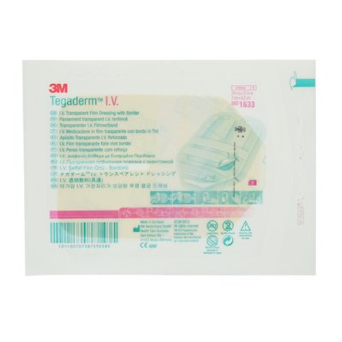 "3M Tegaderm IV Transparent Film Dressing with Border 2-3/4""x3-1/4"" STERILE BX/100 (3M-1633) (3M-1633)"