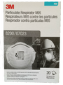 3M 8200 Particulate Respirator, 07023(AAD), Industrial N95 Cup Earloops One Size Fits Most, White, Non-Sterile, BX/20, Box