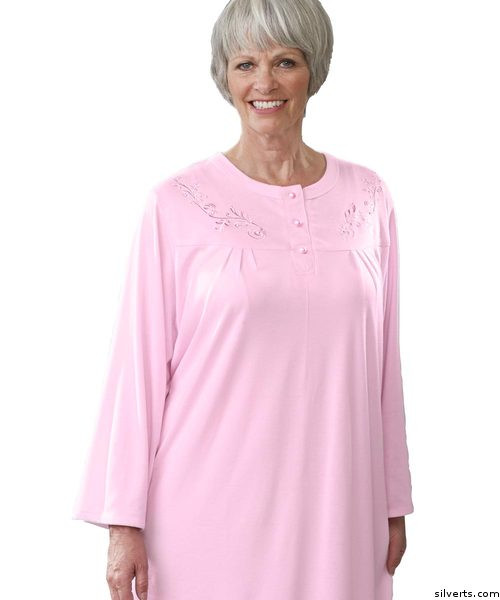 Silvert s 260300104 Womens Cotton Knit Pretty Adaptive Open Back Hospital  Nightgown  3b1799410