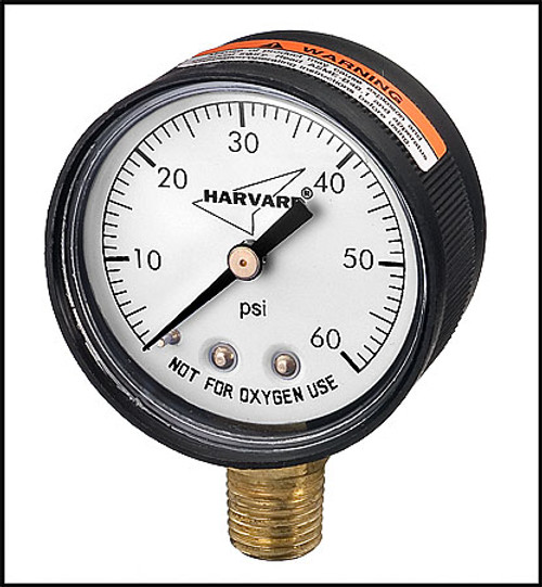 "Pressure Gauge 1/4"" MPT bottom connector - Plastic casing - Harvard Brand"
