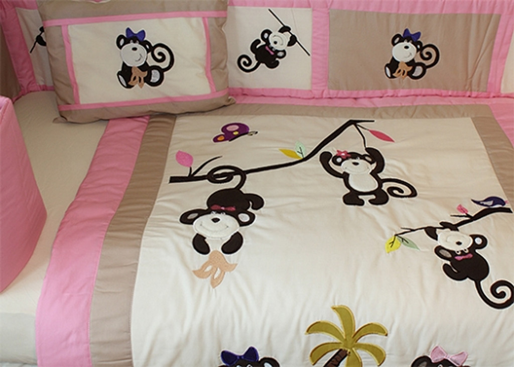 Monkey Girl 10 Piece Crib Bedding Set