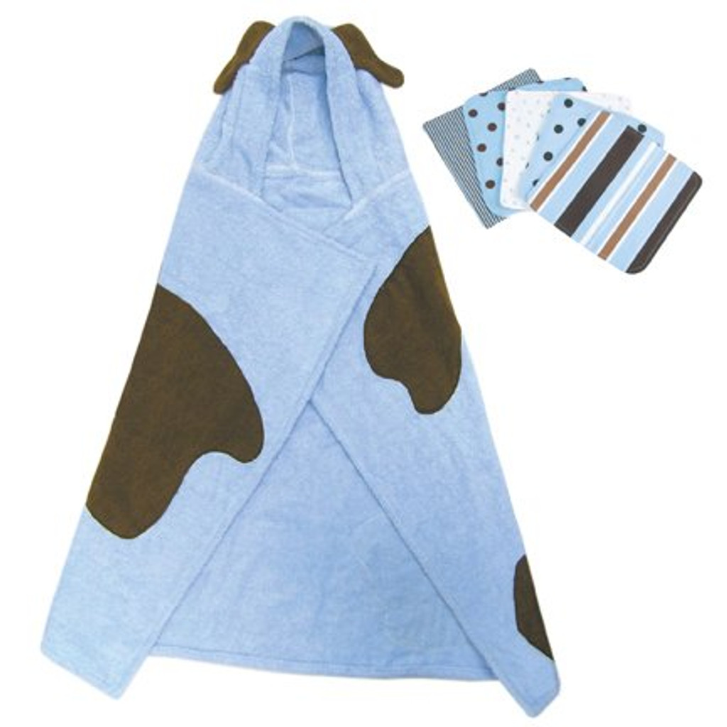 Blue Puppy Character Hooded Towel and 5 Piece Wash Cloth Set