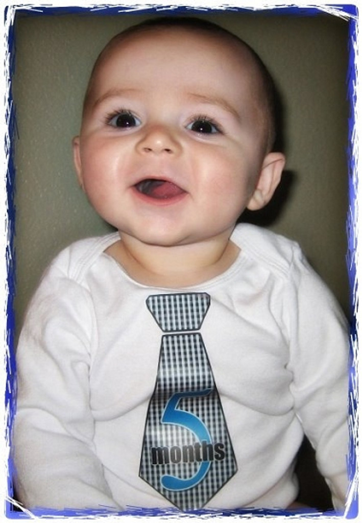 Baby Monthly Photo Stickers: Blue Plaid Tie Design