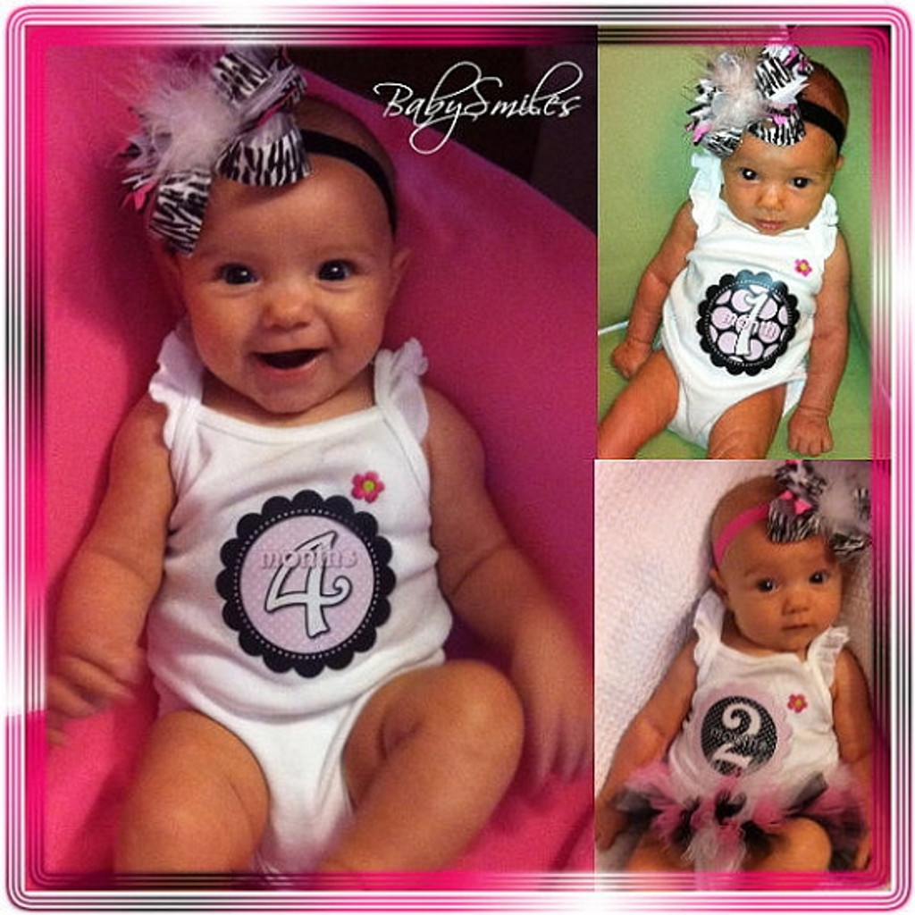 Baby Monthly Photo Stickers: Pink and Black Polka Dot Design
