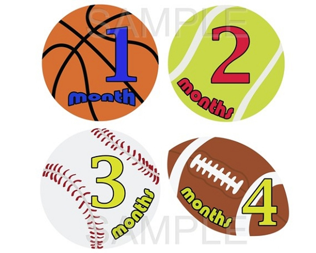 Baby Monthly Photo Stickers: Sports
