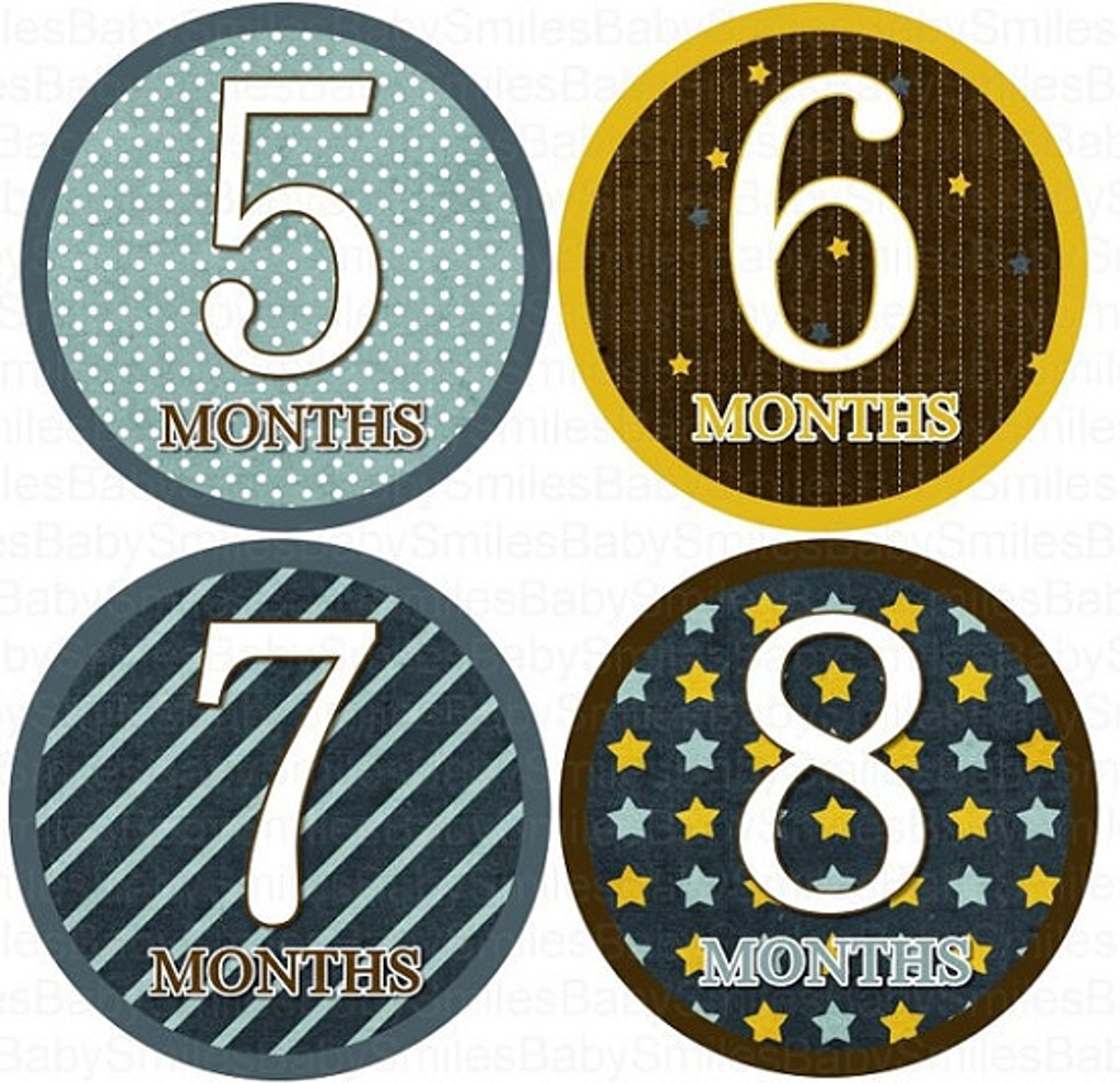 Baby Monthly Photo Stickers: Boy Star Collection