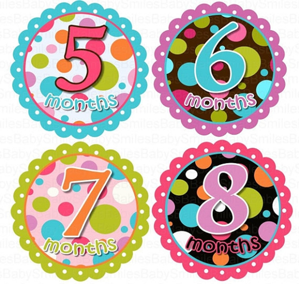 Baby Monthly Photo Stickers: Funky Dots
