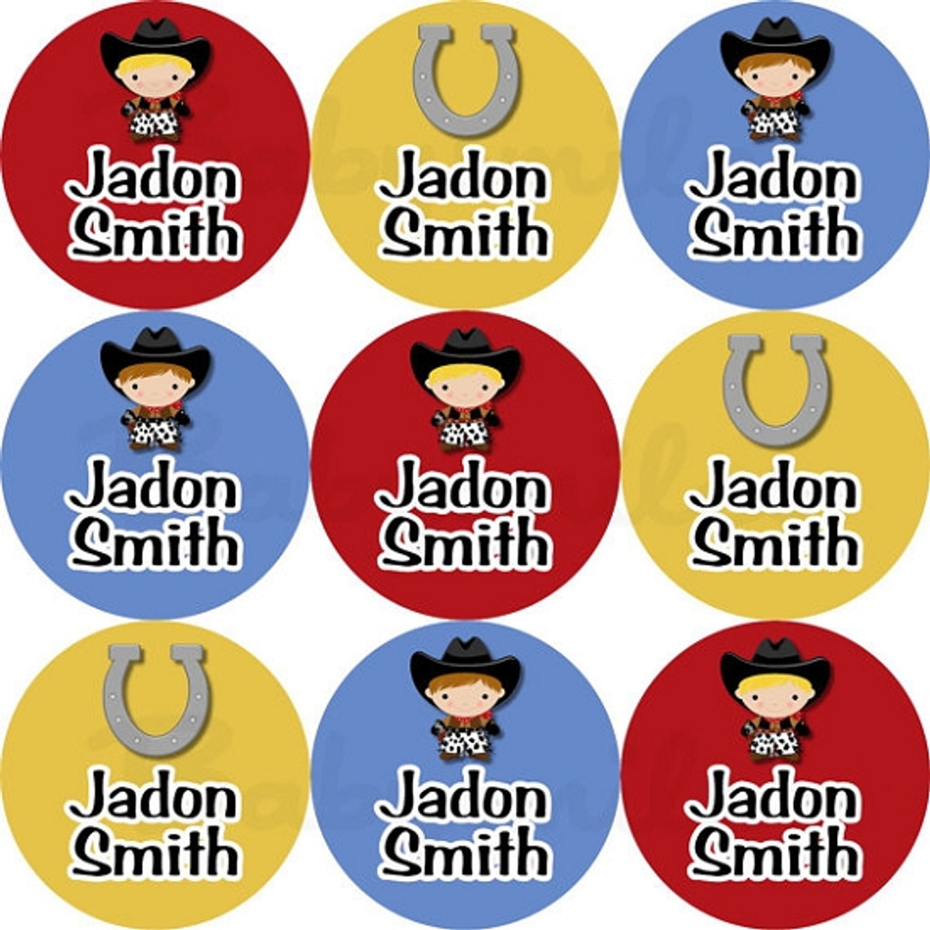 Waterproof Name Labels: Cowboy Collection