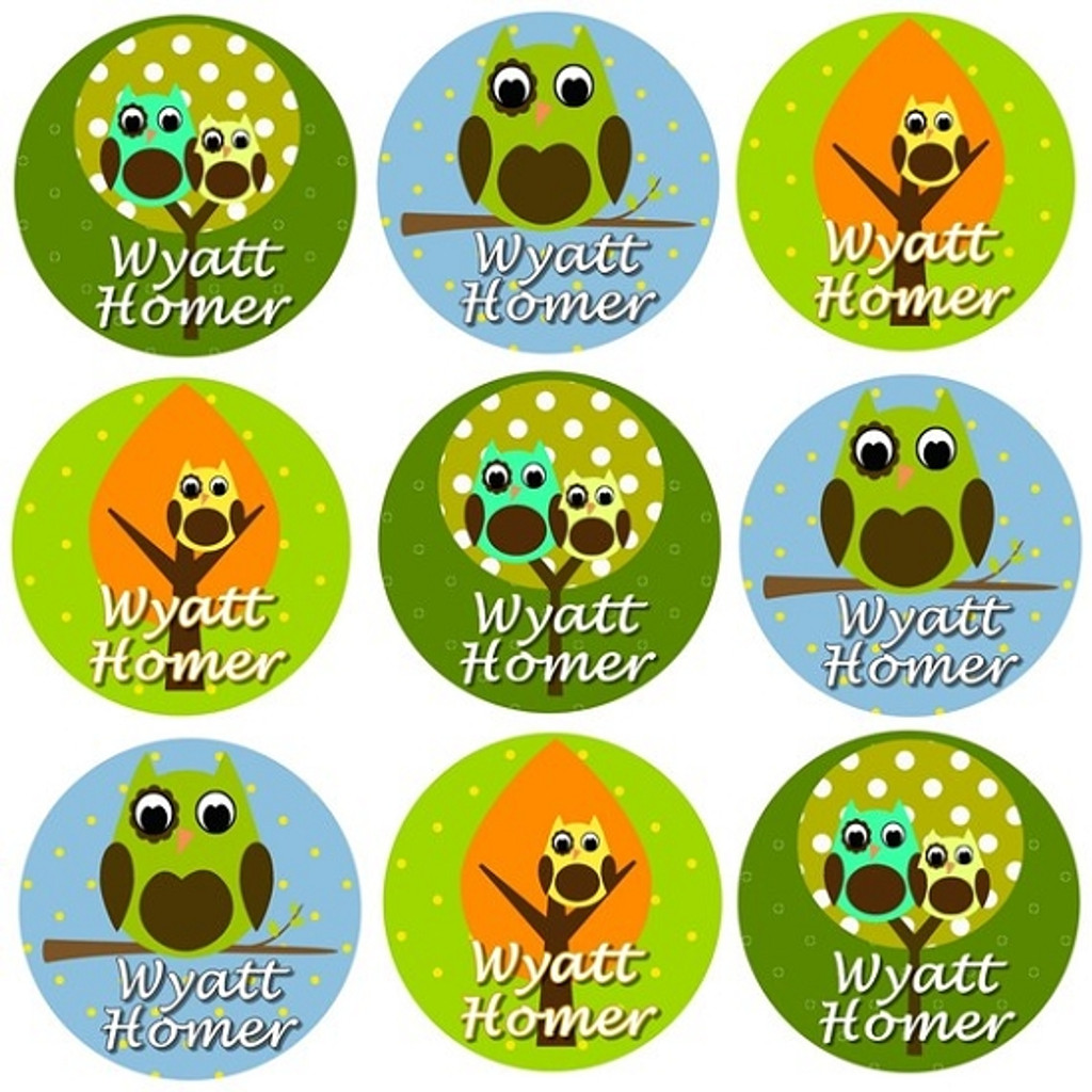Waterproof Name Labels: Boy Owl Collection