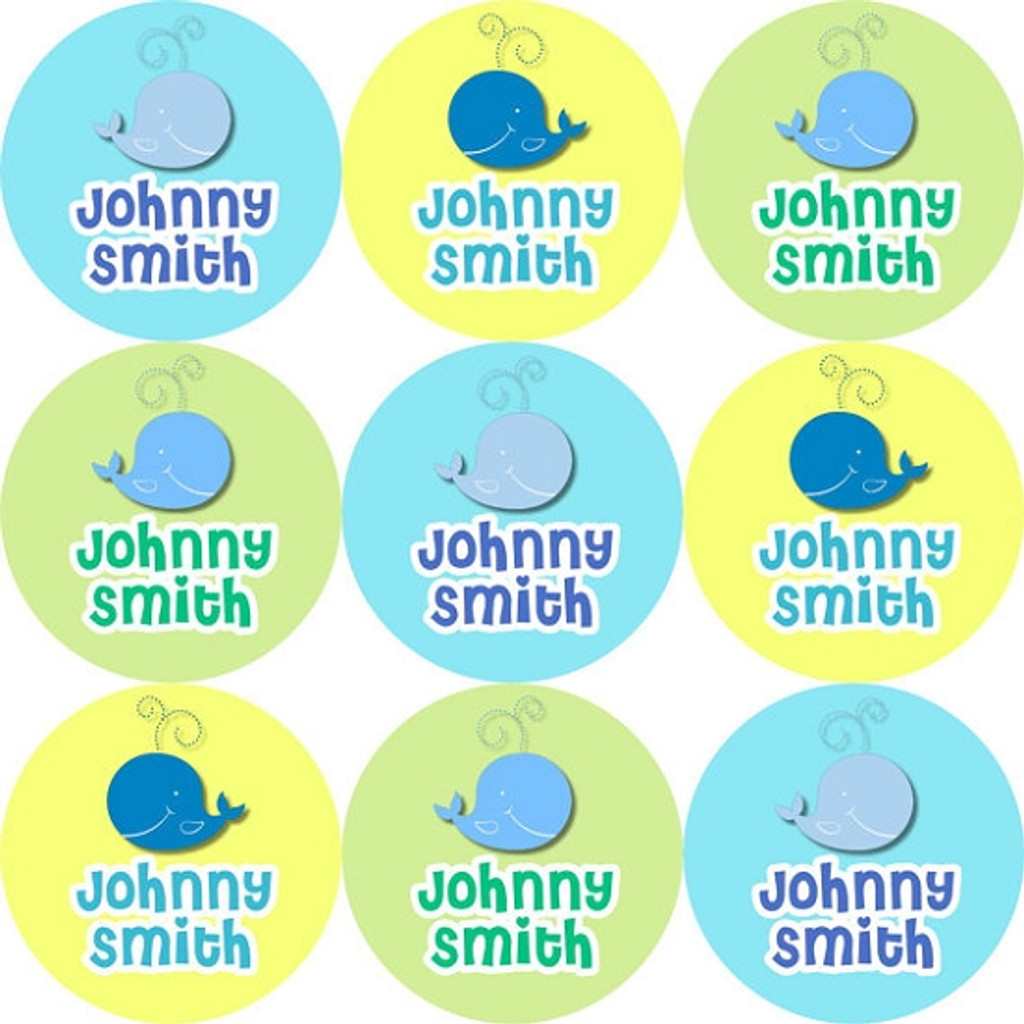 Waterproof Name Labels: Whale Design