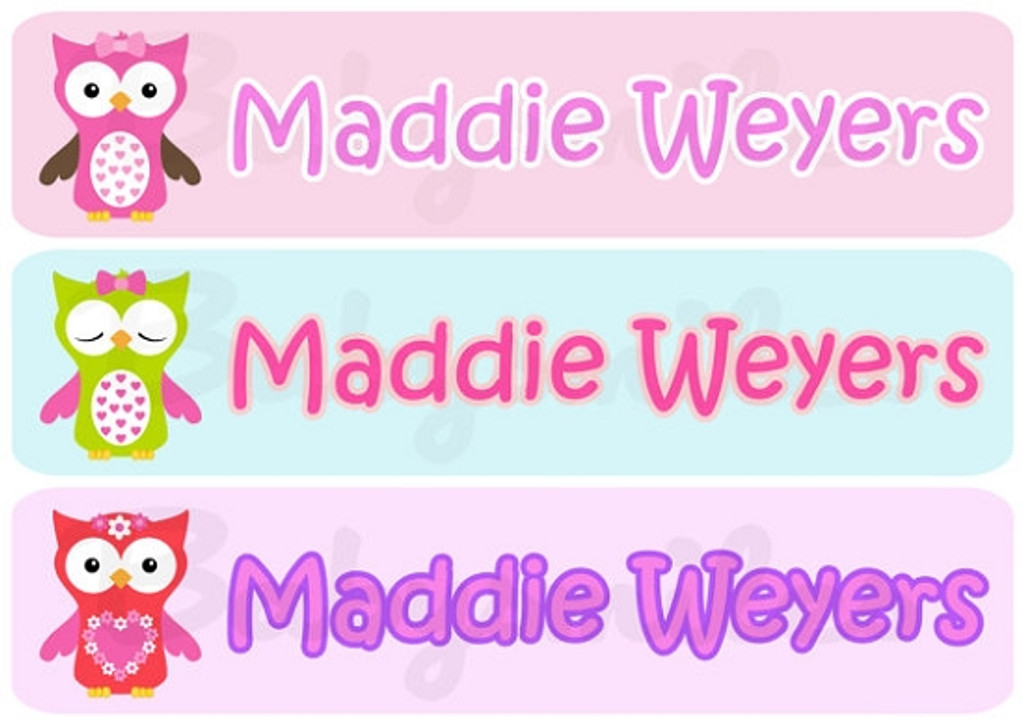 Rectangular Waterproof Name Labels: Adorable Owl Collection