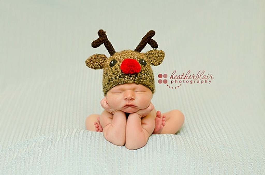 Twin Reindeer Knitted Hats (Set of 2)