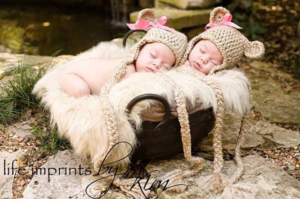 Knitted Teddy Bear Hats (Set of 2)